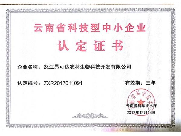 怒江k7娱乐登入公司被云南省科技厅认定为《云南省科技型中小企业》